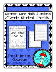 SECOND Grade (2nd grade) I CAN STUDENT CHECKLIST for Common Core Math Standards - great for data notebooks