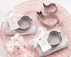 """""""""""Tweet Baby"""" Mamma and Baby Bird Stainless-Steel Cookie Cutters (Pink or Blue)"""""""