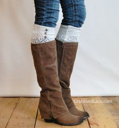 LouLou offwhite Openwork Knit Leg warmers w/ 3 by GraceandLaceCo, $28.00