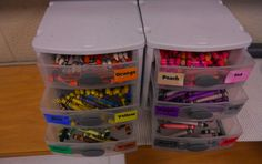 Crayon organization.  Makes it easy for students to find colors they are missing or need.