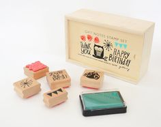 Gift Notes Rubber Stamps via Etsy