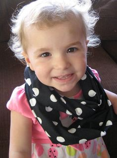 Black with White Polka Dot dots Child BABY Toddler Infinity Loop Scarf Photo Prop by ChevronScarf