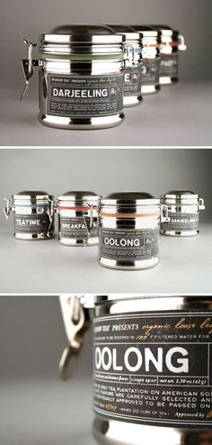 Elegant tea packaging concept by Kristen Haff. It had me at color-coded bands!