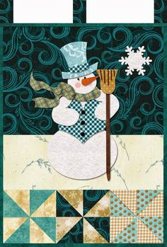 Snowman mini quilt pattern, Mr. January, in:  Little Blessings Wallhanging Club.  Design by Jennifer Bosworth at Shabby Fabrics.