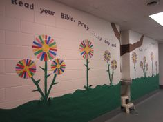 """School spring bulletin board or hallway - """"Read your Bible pray every day and you'll grow, gRoW, GROW!!"""""""