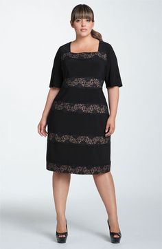 Adrianna Papell Banded Lace Jersey Sheath Dress (Plus) available at Nordstrom