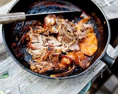 Pork shoulder in woods.