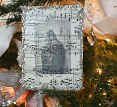 {Glass Glitter} DIY Sheet Music Ornaments
