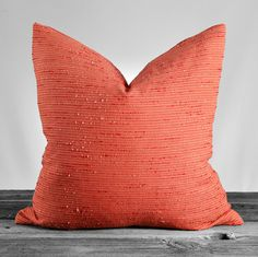 Raw Silk Salmon Pillow Cover, Accent Pillow, Throw Pillow, 20x20