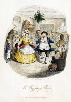 """Mr. Fezziwig's party--from Dickens' """"A Christmas Carol."""""""