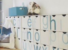 An alphabetized cubby system also serves as a learning tool.   41 Clever Organizational Ideas For Your Child's Playroom