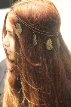 Chain Headpiece Headband Hair Piece Bohemian Hipster Boho Hippie Bronze Feather Pendant Bridal Statement Jewelry via Etsy
