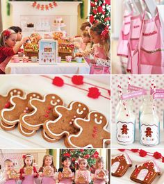 What an adorable set up for a gingerbread house party :)