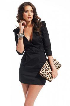 3/4 Sleeve Padded Shoulder V Neck Dress in Black    UNF WANT