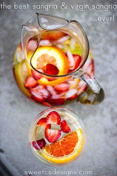 The Tastiest (& easiest) White Sangria & Virgin Sangria Recipe #Tasty #White_Sangria #Recipe