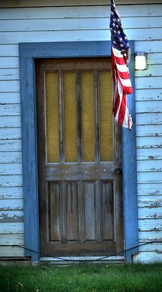 country door and flag