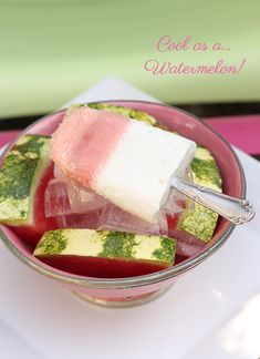 Watermelon & coconut ice popsicles