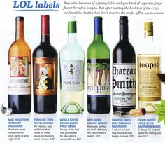 Laughter + wine...humorous labels