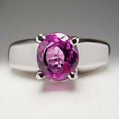 Natural Pink Sapphire Engagement Ring Solitaire 18K White Gold