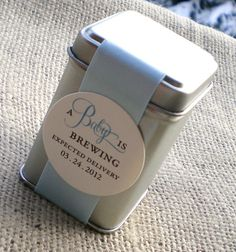 """A Baby is Brewing Tea Tin Favor !! Very cute for Baby Shower Party Gifts! Could also be """"Love is Brewing"""" for wedding shower favors."""