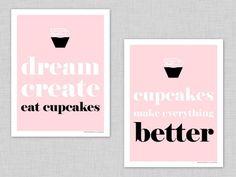 free printable pink cupcake art prints by @tomkatstudio!