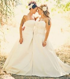lesbian wedding / love the dresses!