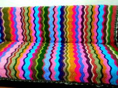 Crochet Afghan Blanket Zig Zag Blanket Chevron Afghan Lap Cover Ripple Blanket Rainbow Colors Home and Living Gift Ideas Ready to Ship by sebsurer, $495.00