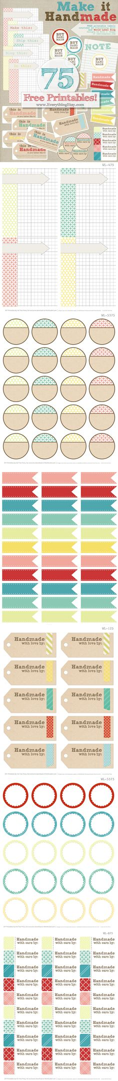 Many free printable labels - with easy to customize text