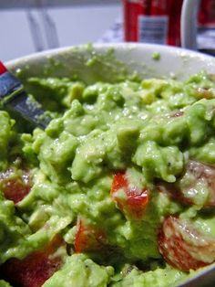 Five-Star Party Guacamole ~ Ina Garten's recipe. Who doesn't love dipping a handful of red, blue or yellow corn chips into fresh guacamole? We also enjoy it on hamburgers and hotdogs, with cut-up veggies and ... right off the spoon! #Labor Day grilling