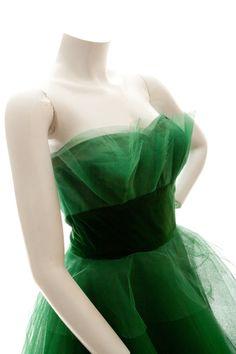 Green strapless tulle dress