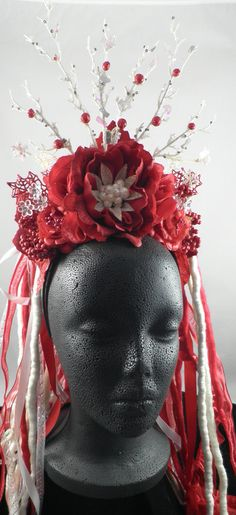 Red and White Snowflake Christmas Crown