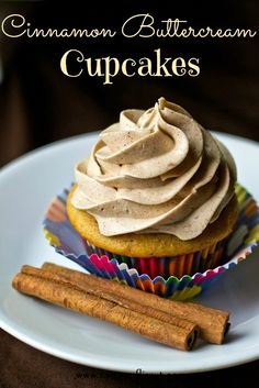 Cinnamon Buttercream Cupcakes {Tastes of Lizzy T}  This cinnamon buttercream is amazing...it will melt in your mouth!!