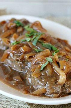 hamburg steak, caramel onion