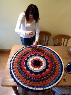 This huge mandala was made by Oona Linnett.  She is stitching it into a hula hoop to hang it on the wall! So clever! The hula hoop is a great idea for a giant mandala!