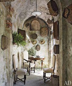 Tuscan Decor - Tuscan style hallway. Beautiful stone.
