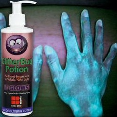 Germ Simulator... a cool way to show kids the importance of washing hands (probably only good for 1st grade and up, though) halloween parties, bugs, bug lotion, halloween fun, hand sanitizer, black, glitter bug, eyes, kid