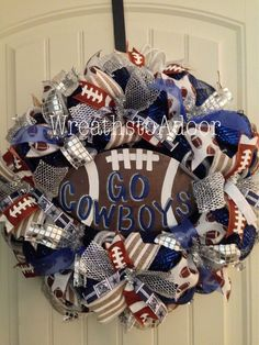 Dallas Cowboys mesh wreath www.facebook.com/wreathstoadoor