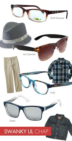 Swanky Lil Chap: Does your darling dude already show signs of having a passion for fashion? If he gladly rocks the adorable outfits you put together for him and digs hitting the mall, then he's definitely on the right track to becoming a studly style expert! The sky is the limit when it comes to the frames your lil hipster can pull off! Play around with translucent, multi-colored and two-toned washes, trendy Clubmaster-inspired and wayfarer silhouettes, and unexpected materials like denim!
