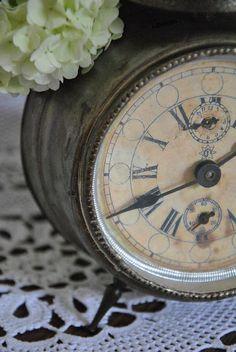 Vintage Clock with Hydrangea