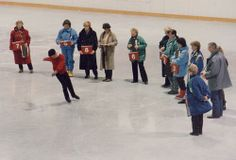 Halifax, 1990 World Figure Skating Championships. David Liu does the last compulsory figure before the panel of judges.