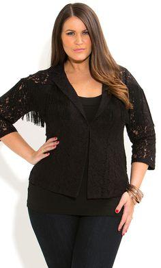 City Chic - LACEY FRINGE JACKET - Women's plus size fashion