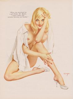 Rare Just a man's Shirt  Vintage Vargas Pin up Girl  Playboy Picture. $10.00, via Etsy.