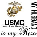 USMC My Husband is MY Hero unique US Marine family merchandise.