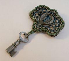 Bead Embroidered Lock and Key Brooch by beadn4fun on Etsy, $37.00 bead frame, brooches, embroid lock, keys, bead embroideri, jewelry bracelets, locks, key brooch, beads