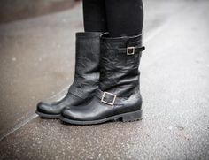 Lorraine Candy wearing the Jimmy Choo BIKER boot at Milan Fashion Week