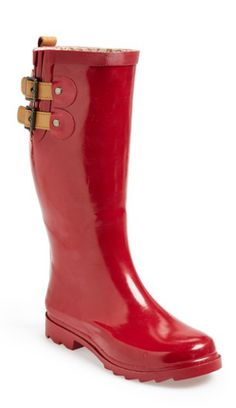 Cherry red rain boots? Yes, please!