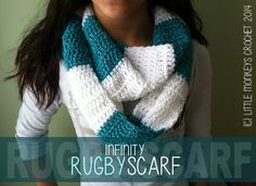 Infinity Rugby Scarf free crochet pattern bow scarf, christmas crafts, infinity scarfs, crochet scarf patterns, crochet stitches, house colors, crochet patterns, school colors, crochet scarfs