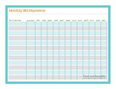 FREE!! Bill payment checklist
