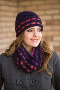 Rocky Mountain Sunset Hat and Cowl - from the Fall 2014 Issue of Love of Crochet magazine  A creative combination of colors and stitches easily creates the warm, woven appearance on this hat and cowl.