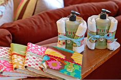 Patchwork dish Towels wrapped around a holiday hand soap - Nice!